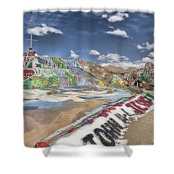 Climbing Salvation Mountain Shower Curtain by Hugh Smith