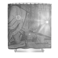 Clinging To The Cross Lights Shower Curtain by Justin Moore