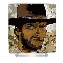 Clint Eastwood Shower Curtain by John Malone