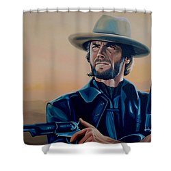 Clint Eastwood Painting Shower Curtain