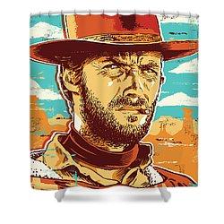 Clint Eastwood Pop Art Shower Curtain by Jim Zahniser