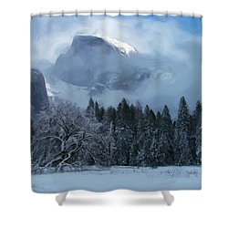 Cloaked In A Snow Storm Shower Curtain by Heidi Smith