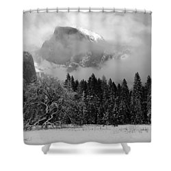 Cloaked In A Snow Storm - Monochrome Shower Curtain by Heidi Smith