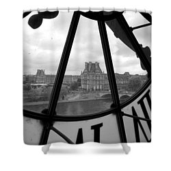 Clock At Musee D'orsay Shower Curtain by Chevy Fleet