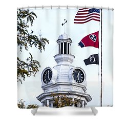 Clock Tower With Tennessee Mia Us Flag Art Shower Curtain
