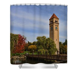 Clocktower Fall Colors Shower Curtain