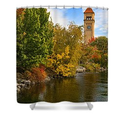 Clocktower In Fall Shower Curtain