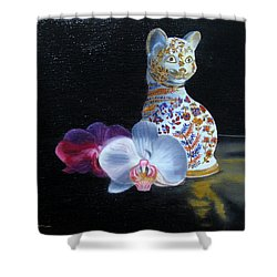 Shower Curtain featuring the painting Cloisonne Cat by LaVonne Hand