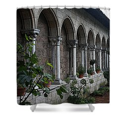 Medieval Garden On A Rainy Day Shower Curtain by Yvonne Wright