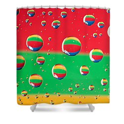 Clolrful Water Drop Reflections Shower Curtain by Sharon Dominick
