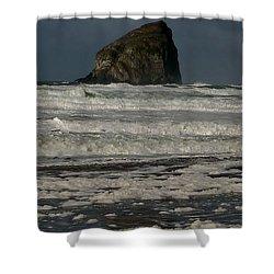Close Haystack Rock Shower Curtain by Susan Garren
