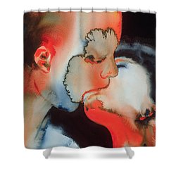 Close Up Kiss Shower Curtain by Graham Dean
