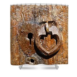 Close Up Of A Heart Shaped Lock On A Door In The Village Of Abyaneh In Iran Shower Curtain by Robert Preston