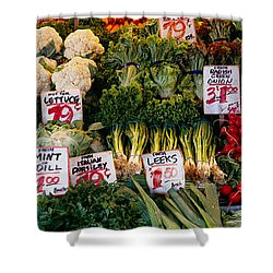 Close-up Of Pike Place Market, Seattle Shower Curtain by Panoramic Images