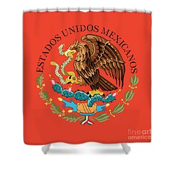 Close Up Of The Seal Within The Mexican National Flag Shower Curtain