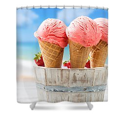 Close Up Strawberry Ice Creams Shower Curtain by Amanda Elwell