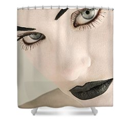 Closeup Of A Womans Face Shower Curtain by Darren Greenwood