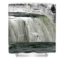 Closeup Of Icy Niagara Falls Shower Curtain by Rose Santuci-Sofranko