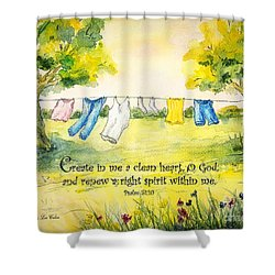 Clothesline Psalm 51 Shower Curtain