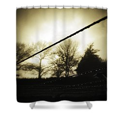 Clotheslines  Shower Curtain by Les Cunliffe