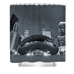 Cloud Gate And Skyline - Blue Toned Shower Curtain by Adam Romanowicz
