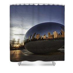 Cloud Gate At Sunrise Shower Curtain by Sebastian Musial
