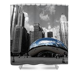 Cloud Gate B-w Chicago Shower Curtain by David Bearden