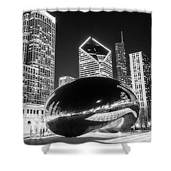 Cloud Gate Chicago Bean Black And White Picture Shower Curtain by Paul Velgos
