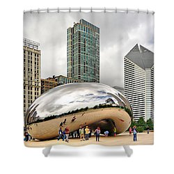 Cloud Gate In Chicago Shower Curtain by Mitchell R Grosky