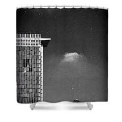 Shower Curtain featuring the photograph Cloud Lamp Building by Silvia Ganora