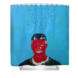 Cloud Of Flies Over Red George Shower Curtain by Fabrizio Cassetta