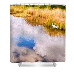 Cloud Reflection In Water Digital Art Shower Curtain