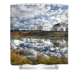Cloud Reflections In Beaver Pond Canaan Valley Shower Curtain by Dan Friend