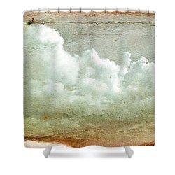 Clouds On Old Grunge Paper Shower Curtain by Michal Bednarek