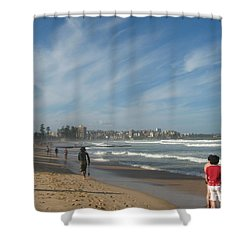 Shower Curtain featuring the photograph Clouds Over Manly Beach by Leanne Seymour