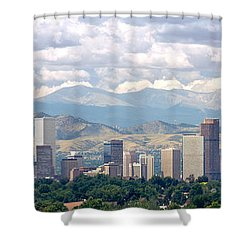 Clouds Over Skyline And Mountains Shower Curtain