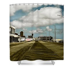 Clouds Over The Boardwalk Shower Curtain by Colleen Kammerer