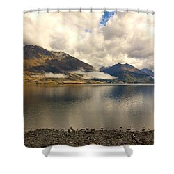 Shower Curtain featuring the photograph Clouds Over Wakatipu #1 by Stuart Litoff