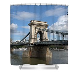 Clouds Sky Water And Bridge Shower Curtain
