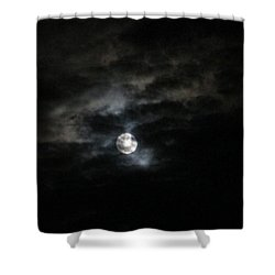 Night Time Cloudy Dark Moon Shower Curtain by Barbara Yearty