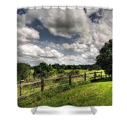 Cloudy Day In The Country Shower Curtain by Kaye Menner
