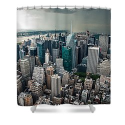 cloudy Manhattan Shower Curtain by Hannes Cmarits