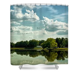Cloudy Reflections Shower Curtain by Kim Hojnacki