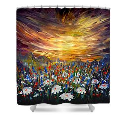 Shower Curtain featuring the painting Cloudy Sunset In Valley by Lilia D