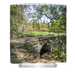 Clover Valley Park Bridge Shower Curtain by Jim Thompson