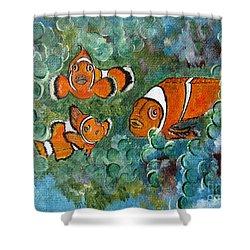 Clown Fish Art Original Tropical Painting Shower Curtain