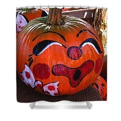 Shower Curtain featuring the photograph Clown Pumpkin by Denyse Duhaime