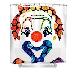 Clownin Around - Funny Circus Clown Art Shower Curtain by Sharon Cummings