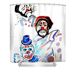 Shower Curtain featuring the painting Clowns In Heaven by Nora Shepley