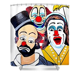 Shower Curtain featuring the painting Clowns In Shock by Nora Shepley